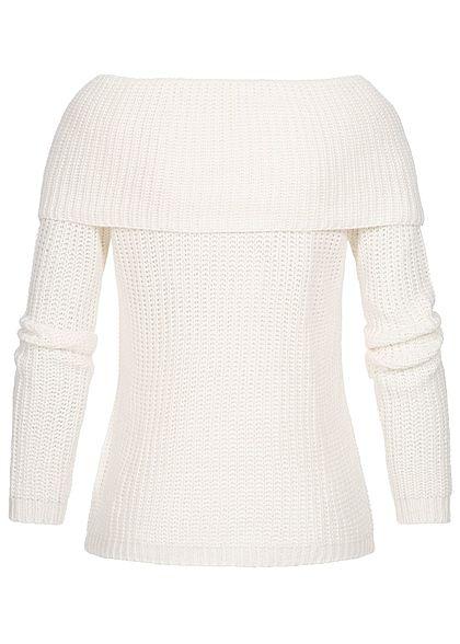 Seventyseven Lifestyle Damen Off-Shoulder Knit Sweater ecru off weiss