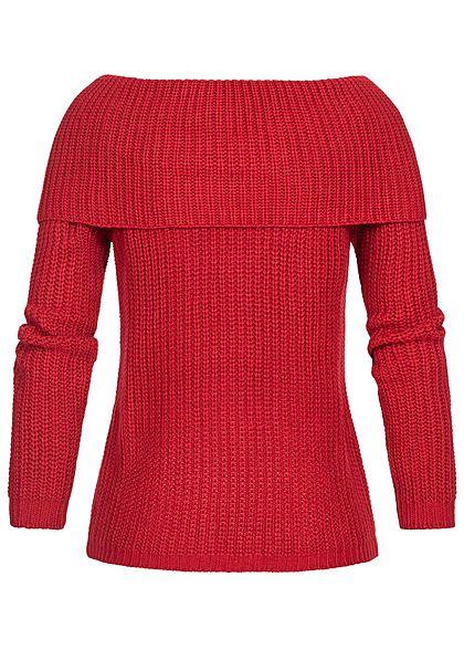 Seventyseven Lifestyle Damen Off-Shoulder Knit Sweater bordeaux rot