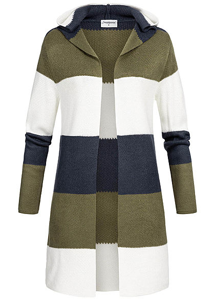 Seventyseven Lifestyle Damen Striped Cardigan Colorblock olive navy weiss