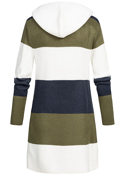 Seventyseven Lifestyle Damen Striped Cardigan Colorblock olive navy weiss