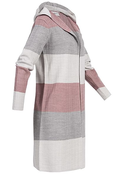 Seventyseven Lifestyle Damen Striped Cardigan Colorblock rosa grau beige