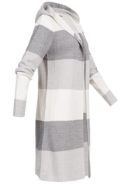 Seventyseven Lifestyle Damen Striped Cardigan Colorblock dunkel grau weiss grau