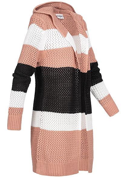 Seventyseven Lifestyle Damen Striped Knit Cardigan Colorblock weiss schwarz rosa