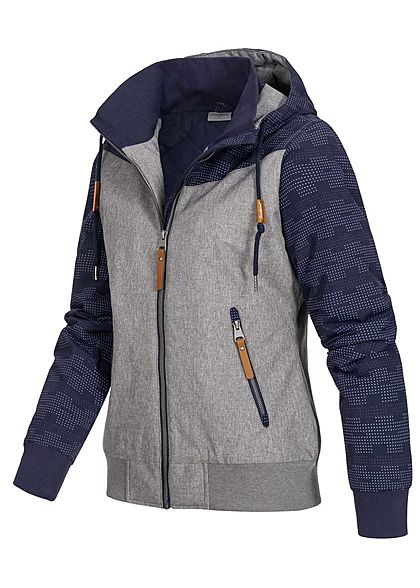 Seventyseven Lifestyle Damen Hooded Melange Jacket 2-Pockets navy blau