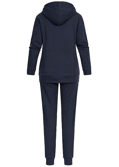 Seventyseven Lifestyle Damen Colorblock Sweatsuit Kapuze navy blau grau rot
