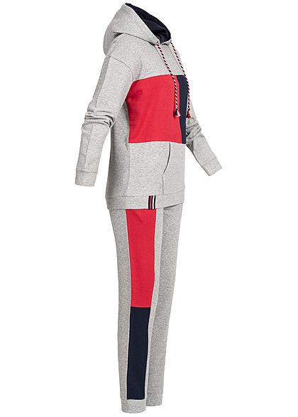 Seventyseven Lifestyle Damen Colorblock Sweatsuit Kapuze hell grau melange rot navy