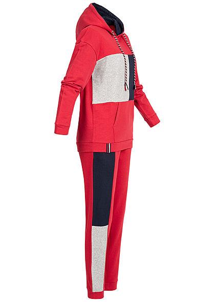 Seventyseven Lifestyle Damen Colorblock Sweatsuit Kapuze rot grau navy blau