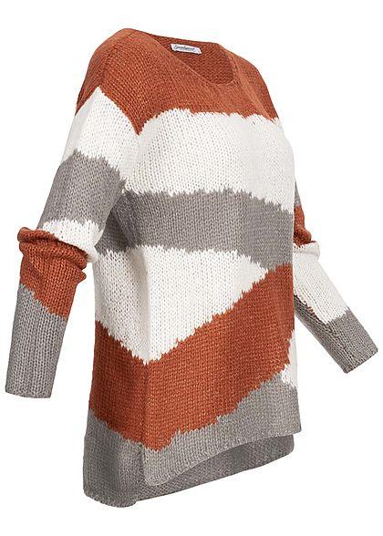 Seventyseven Lifestyle Damen Oversized Strickpullover Streifen caramel braun grau