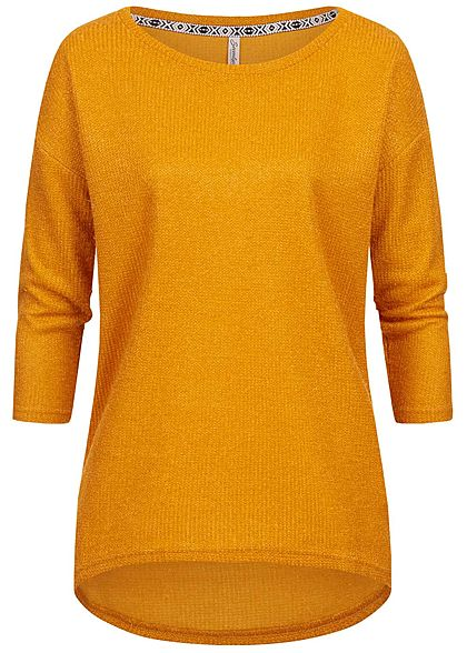 Seventyseven Lifestyle Damen 3/4 Sleeve Sweater curry gelb