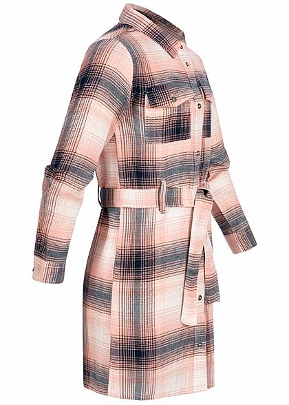 ONLY Kids Mädchen Kleid Karo Muster 2 Brusttaschen mit Bindegürtel rosa dunkel grau