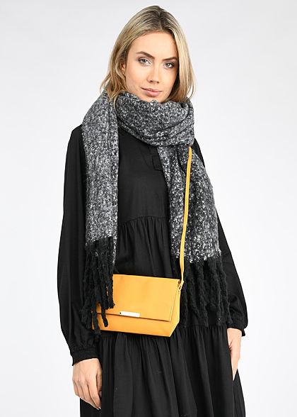 Seventyseven Lifestyle Damen Fransen Schal meliert 180x50cm schwarz