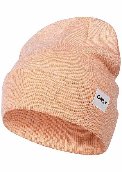 ONLY Damen Strick Beanie Logo Patch canteloupe orange