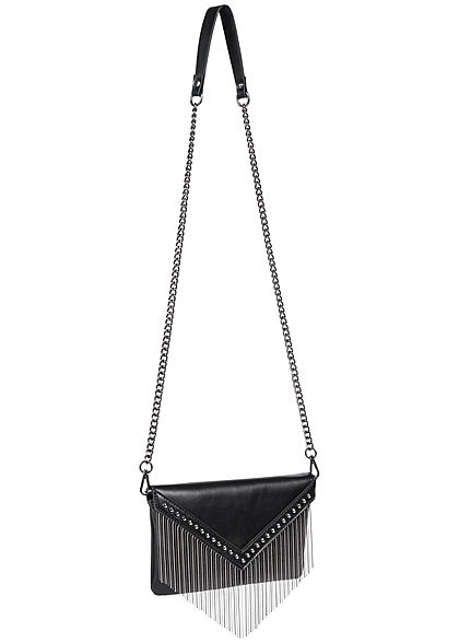 ONLY Damen Mini Handtasche Clutch Deko Nieten & Perlen Fransen schwarz