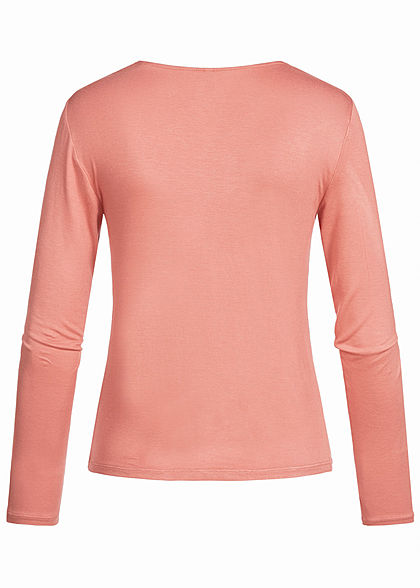 ONLY Damen V-Neck Longsleeve leichte Raffung vorne brick dust old rosa