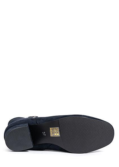 Seventyseven Lifestyle Damen Schuh Stiefelette Absatz 5cm Velour Optik dunkel blau