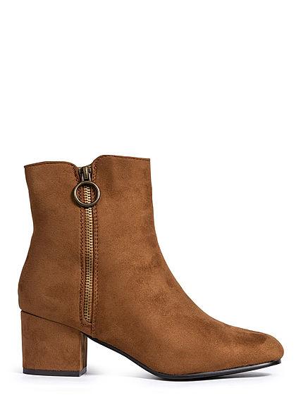 Lifestyle Schuh 5cm Optik Seventyseven Stiefelette Camel Braun Damen Velour Absatz OkiPZuX