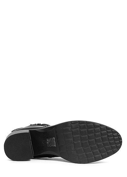 Seventyseven Lifestyle Damen Schuh Stiefelette Absatz 6cm Kunstleder Zipper schwarz