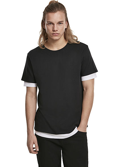 Seventyseven Lifestyle TB Herren T-Shirt 2in1 Optik schwarz weiss