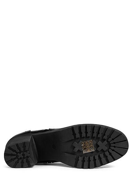 Seventyseven Lifestyle Damen Schuh Stiefelette Deko Zipper Blockabsatz 8cm schwarz