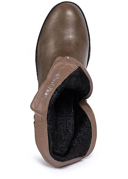 Seventyseven Lifestyle Damen Schuh Stiefelette Deko Zipper Blockabsatz 8cm khaki