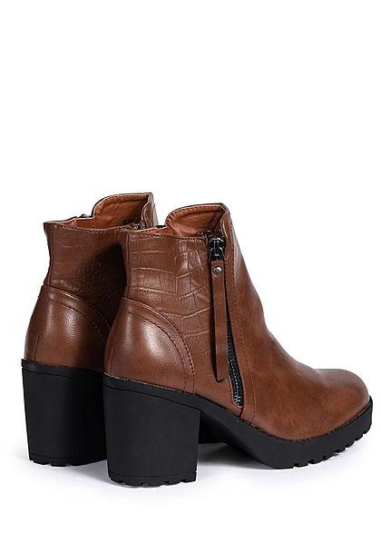 Seventyseven Lifestyle Damen Schuh Stiefelette Deko Zipper Blockabsatz 8cm camel braun