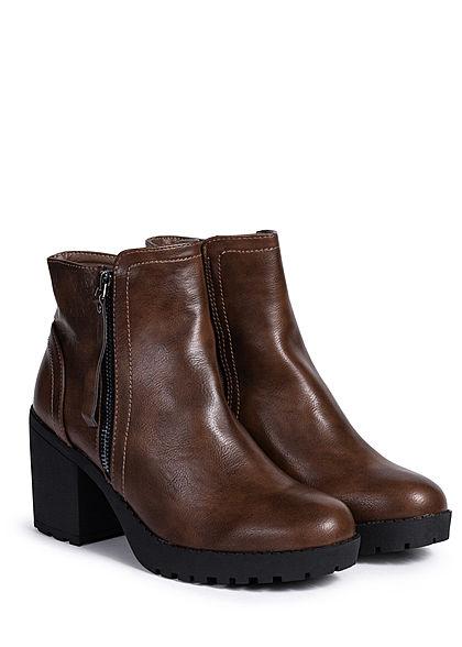 Seventyseven Lifestyle Damen Schuh Stiefelette Deko Zipper Blockabsatz 8cm dunkel braun