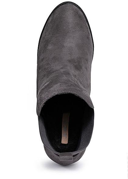 Seventyseven Lifestyle Damen Schuh Stiefelette Absatz 10cm Velour Optik dunkel grau