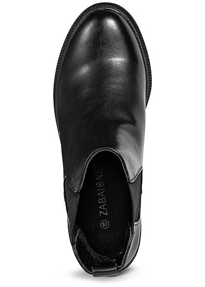 Zabaione Damen Schuh Stiefelette Absatz 7cm Kunstleder schwarz