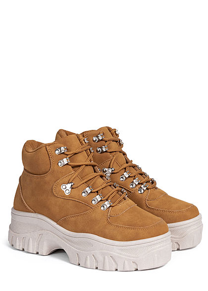Hailys Damen Schuh Plateau Chunky Sneaker camel braun