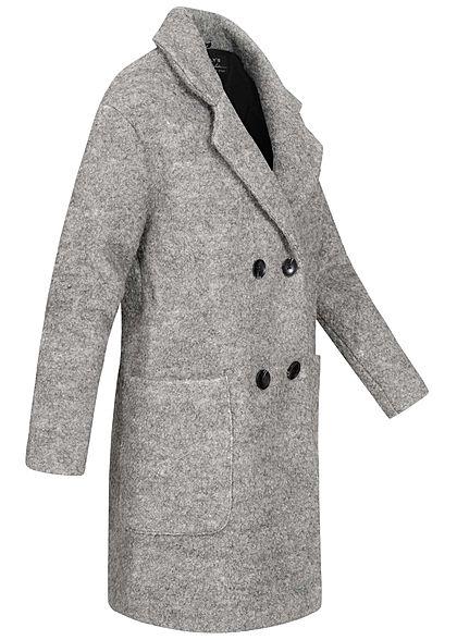 Hailys Damen Boucle Mantel Jacke 2-Pockets hell grau