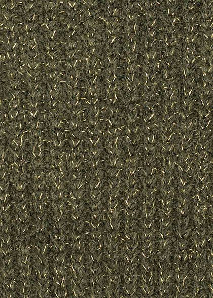 Hailys Damen Oversized Lurex Strickpullover khaki grün