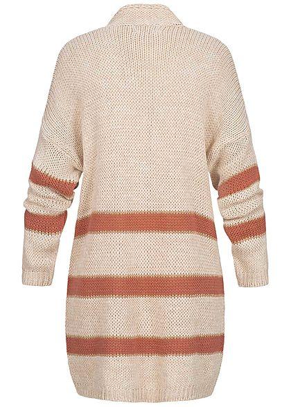 Hailys Damen Lurex Strick Cardigan Streifen Muster rosa beige