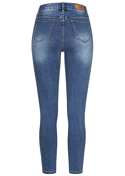 Hailys Damen High-Waist Skinny Jeans Hose Knopfleiste 5-Pockets medium blau denim