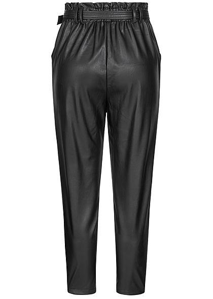 Hailys Damen Paper Bag Kunstleder Hose 2-Pockets inkl. Gürtel schwarz