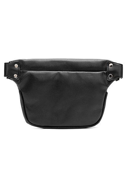 Hailys Damen Kunstleder Hüfttasche 1-Zipfach 25x15cm schwarz silber