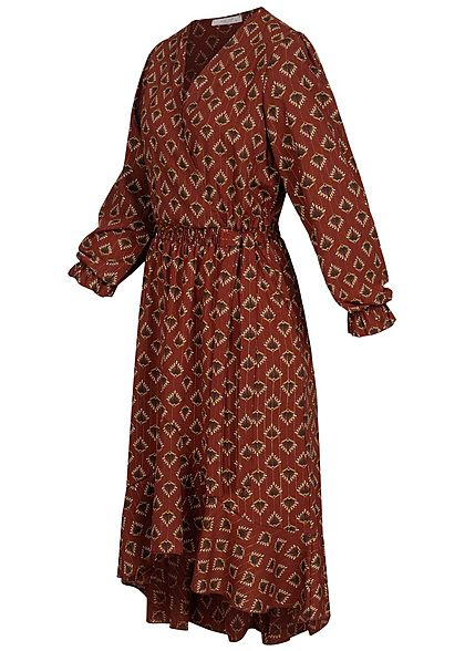 Hailys Damen Chiffon V-Neck Midi Kleid Floraler Print caramel braun