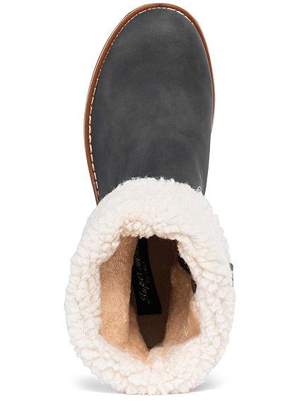 Seventyseven Lifestyle Damen Schuh Halbstiefel Zipper Kunstleder dunkel grau