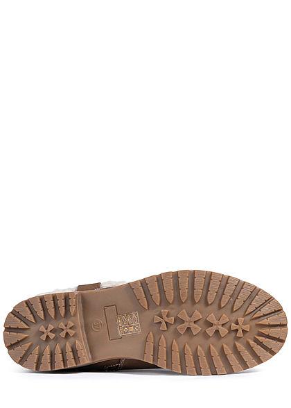 Seventyseven Lifestyle Damen Schuh Halbstiefel Zipper Kunstleder khaki braun