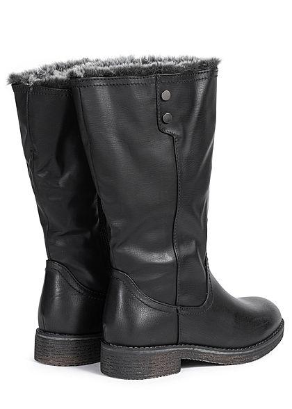 Seventyseven Lifestyle Damen Schuh Stiefel Zipper Kunstleder schwarz