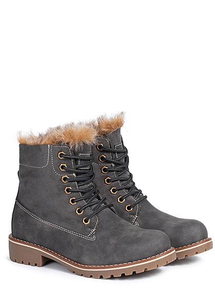 Seventyseven Lifestyle Damen Schuh Worker Boots Stiefelette Velour Kunstleder dunkel grau