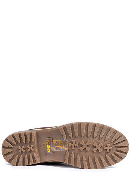 Seventyseven Lifestyle Damen Schuh Worker Boots Stiefelette Velour Kunstleder khaki braun