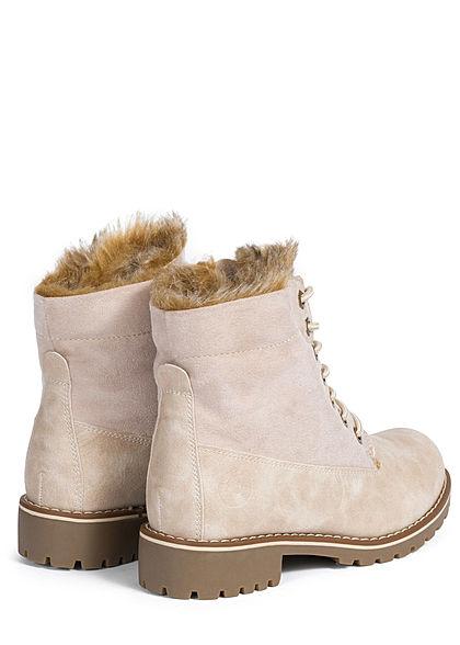 Seventyseven Lifestyle Damen Schuh Worker Boots Stiefelette Velour Kunstleder beige
