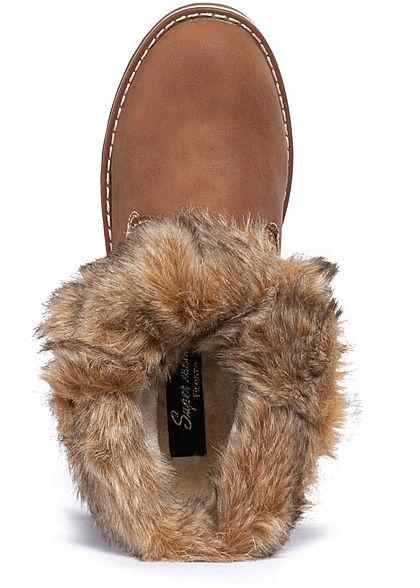 Seventyseven Lifestyle Damen Schuh Worker Boots Stiefelette Velour Kunstleder camel braun