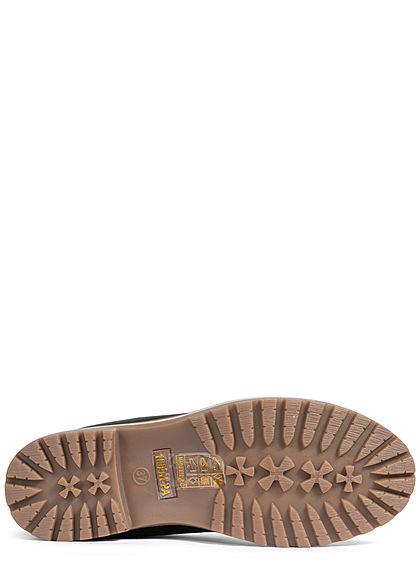 Seventyseven Lifestyle Damen Schuh Worker Boots Stiefelette Velour Kunstleder schwarz
