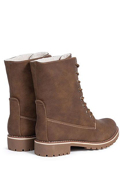 Seventyseven Lifestyle Damen Schuh Worker Boots Halbstiefel Kunstleder khaki braun