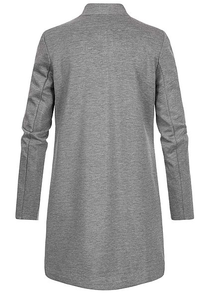 ONLY Damen Poptrash Coatigan Long Blazer 2-Pockets offener Schnitt medium grau