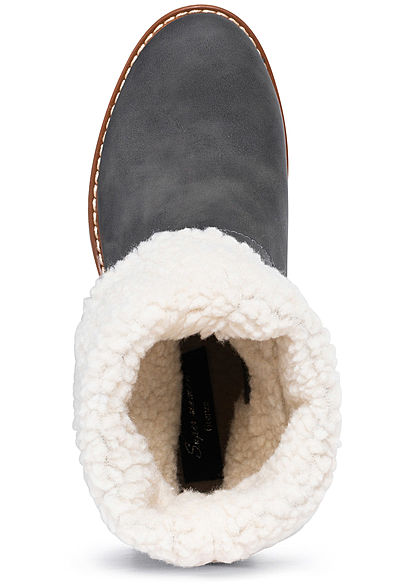 Seventyseven Lifestyle Damen Schuh Halbstiefel Zipper Deko Schnalle Kunstleder d. grau