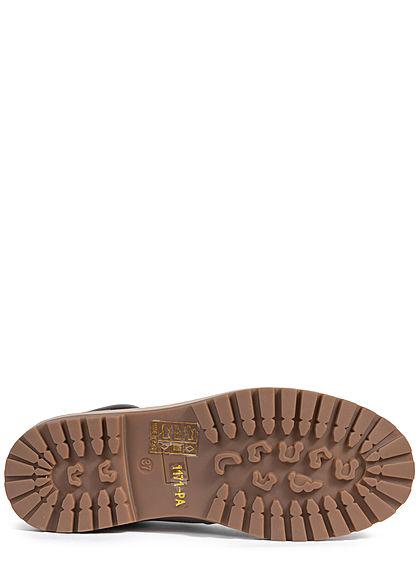Seventyseven Lifestyle Damen Schuh Worker Boots Stiefelette Kunstleder hell grau