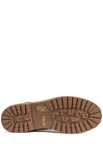 Seventyseven Lifestyle Damen Schuh Worker Boots Stiefelette Kunstleder khaki braun