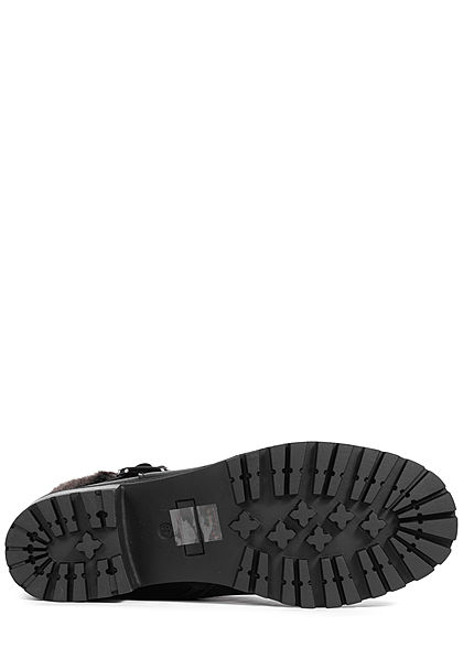 Seventyseven Lifestyle Damen Schuh Boots Stiefelette Deko Schnalle Kunstfell schwarz
